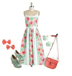 """""""Modcloth #16"""" by onewithbirds ❤ liked on Polyvore featuring Bea & Dot, Chelsea Crew, H&M, Brit-Stitch, Flowers, modcloth, pinkandgreen and gerberdaisies"""