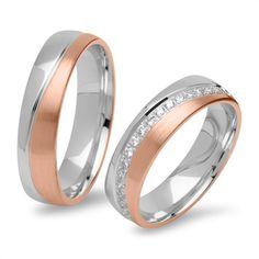 Gravierbare Eheringe bicolor 925er Silber rosé R8579s…