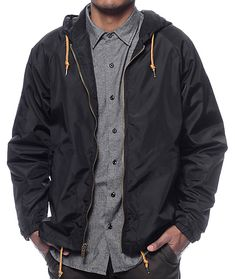 a5b7fc8b59 Brixton Claxton Black Hooded Windbreaker