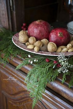Apples,Pomegranate,  Nuts, Greenery,  Great Seasonal Touches on the Buffet & or Tablescape