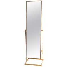 "French Modernist Solid Gilded Brass ""Psyche"" Standing Mirror"