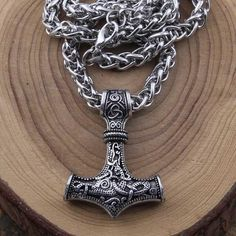 dropshipping thor's hammer mjolnir pendant necklace viking scandinavian norse viking necklace with stainless steel chain hammer Thors Hammer, Thor's Hammer Mjolnir, Necklace Types, Men Necklace, Pendant Necklace, Thor's Hammer Necklace, Mjolnir Pendant, Girl's Generation, Men Accessories