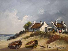 Pieter van Heerden | The Lonehill Art Gallery Fishermans Cottage, African Art Paintings, Boat Art, Cottage Art, New Hobbies, My Teacher, 6 Years, Cottages, Landscape Paintings