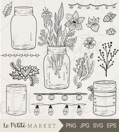 Mason Jar Clipart Mason Jar Wedding Clipart Mason Jar with