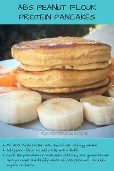 Check out this recipe using flour for No Flour Pancakes, Low Carb Pancakes, Pancakes And Waffles, Flour Recipes, Waffle Recipes, Vegan Recipes, Vegan Food, Peanut Flour, Peanut Butter