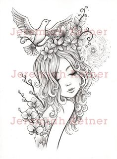 Printable Adult Coloring Page Cherry Blossom Girl