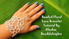 Beaded Floral Lace Bracelet - FREE Tutorial by beadifulnights Hand Jewelry, Seed Bead Jewelry, Jewelry Crafts, Beaded Jewelry, Jewellery, Beaded Bracelets Tutorial, Beaded Bracelet Patterns, Hand Armband, Lace Bracelet