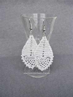 crochet earrings pattern drop earrings romantic wedding jewelry last minute gift crochet jewelry tutorial crochet pdf file diy wedding checklist Crochet Jewelry Patterns, Crochet Earrings Pattern, Crochet Accessories, Crochet Jewellery, Lace Jewelry, Crochet Gifts, Diy Crochet, Tutorial Crochet, Diy Jewelry To Sell