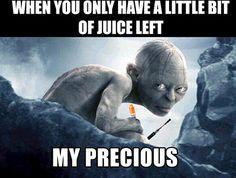 When you only have a little bit of juice left :) #ecig #humor #vapor #lotr #juice