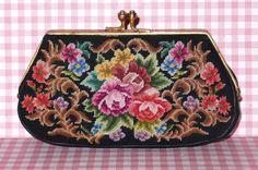 Petit Point Geldbörse VINTAGE Gobelin Portemonnaie Geldbeutel Clip Tasche Shabby | eBay