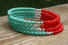 Coral and Turquoise Memory Wire Bracelet by ChelestersCreations