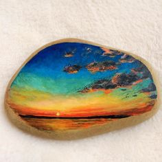 sunset #sky #art #painting #paint #Acrylicpaint #Acrylic #stoneart #stone #stonepainting #paintedstone #tasboyama