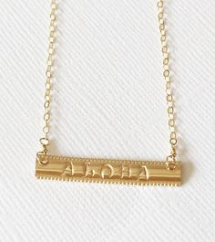 Aloha bar necklace- handstamped ALOHA necklace- personalized jewelry- gold filled bar necklace- message bar necklace. (N126)