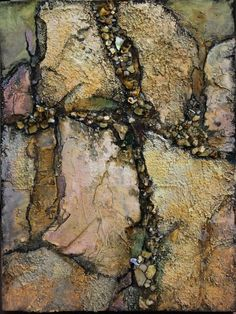 """Crevice"" - features two types of modeling compound and crushed abalone shells, 8""x6""x1.0"" Mixed Media on Panel by Carol Nelson (2015)"