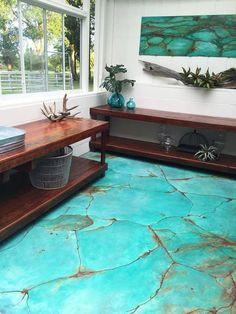 turquoise gem look on floor with metal effects patinas, diy, flooring, painting