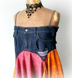 Colorful Hippie Shirt Upcycled Jeans Boho by BrokenGhostClothing