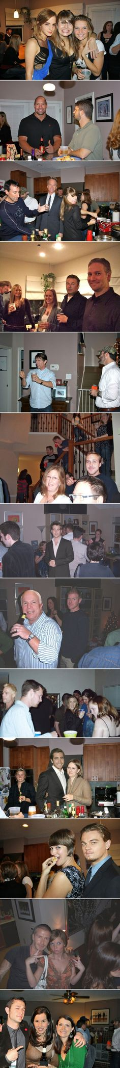 Photoshoped celebs on facebook party pics. Interesting...