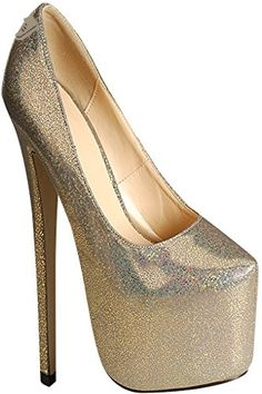 Diamond GLITTER ACCENT ALMOND TOE PLATFORM HIGH HEELS 55 gold - Lolli couture pumps for women (*Amazon Partner-Link)