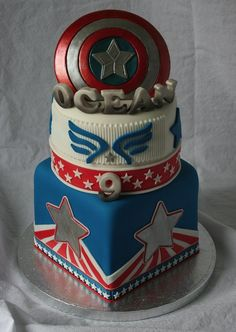 Captain America cake for Ocean. The best Captain America Cake i've seen yet! Captain America Birthday Cake, Captain America Cake, Pastel Capitan America, Anniversaire Captain America, Avengers Birthday Cakes, Cake Birthday, Birthday Ideas, Avenger Cake, 4th Of July Cake