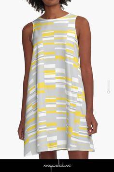 Mosaic Rectangles in Yellow Gray White by Menega Sabidussi @redbubble  Women Casual Designer Print Clothing #dress #clothing #apparel #wearableart #fashion #aline #redbubble #geometric #minimalism