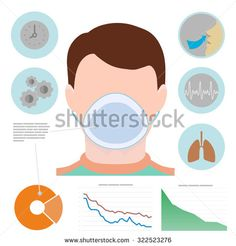 Respiratory infographic, man in respiratory mask, icons with lungs, easy breathing, clock, diagram, graphic.