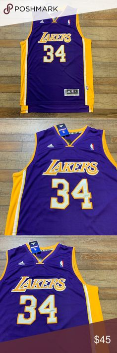 reputable site e6819 a9e87 NWT Shaq Los Angeles Lakers Adidas NBA Jersey 🔥🔥 Shaquille O Neal  34
