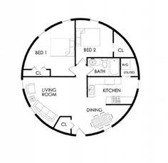 33 ft dia, 860 sq ft, 1 floor 1