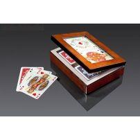 Karty Piatnik - lux w pudełku drewnianym z okienkiem  #karty #piatnik