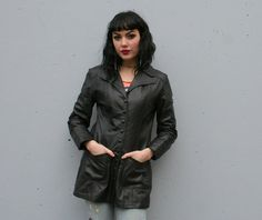 Vintage 70s Glam Black Leather Snapped Jacket