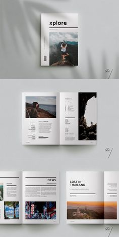XPLORE Travel Magazine is a professional, modern template with a focus on explor. - Brochure Templates - XPLORE Travel Magazine is a professional, modern template with a focus on exploration. Design Poster, Graphic Design Layouts, Book Design Layout, Photo Book Design, Travel Book Layout, Brochure Design Layouts, Grid Layouts, Print Layout, Portfolio Design