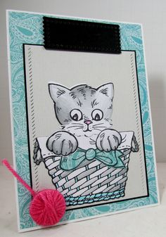 Purrrr-fectly colored Pop Up Kitty! #Stampendous #PopUp #ChameleonPens