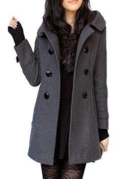 79977b856c3e Foluton Damen Winter Herbst Mantel Steppjacke Kapuzenjacke Übergangsjacke  Trenchcoat Zweireihig Wollmantel Gesteppt Parka Coat Outwear Schwarz