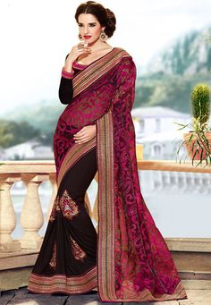 Black Faux Georgette and Faux Crepe Jacquard Saree with Blouse