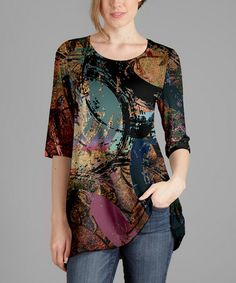 Lily Black Multicolored Circle Print Scoop Neck Tunic - Plus Too That Look, Scoop Neck, Lily, Tunic Tops, Leggings, Chic, Lata Mangeshkar, Blouse, How To Wear
