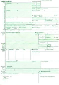 Dit is een voorbeeld van een vervoersdocument binnen Europa. Deze moet ingevuld worden door degene die het pakketje wil 'vervoeren'.