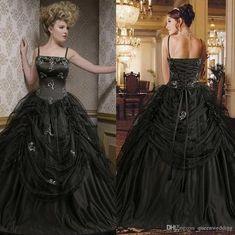 2015 Gothic Black Victorian Ball Gown Prom Dresses Vintage Spaghetti Strap…