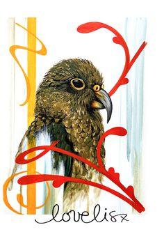 Kea Print #fineartprint #kea #nzbird #bird #nzartist #shipworldwide #lovelisx #art #paint #print #love Polynesian Art, Kiwi, Rooster, Animals, Animales, Animaux, Roosters, Animais, Animal