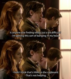 """I think that's Hitler in the cupboard."" And again, only in Doctor Who (gosh I love this show) Geeks, Doctor Who Quotes, Doctor Who Facts, 11th Doctor, Don't Blink, Torchwood, David Tennant, Dr Who, Superwholock"