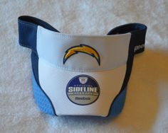 San Diego Chargers Sideline Velcro Visor Hat - NFL Golf Cap by Reebok. $19.08. comes with authentic NFL Tags attached. Adult one-size fits all. Manufactured by Reebok. Made of 84% polyester 14% cotton and 2% polyurethane. this is the highest quality visor cap on the market...same one used by coaches/players on the sideline