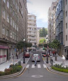Proyecto de Infografía 3D para la recreación virtual de la humanización de una céntrica calle en la ciudad de Vigo (Pontevedra).  En la galería de imágenes se puede ver el render final además de la fotografía original que se utilizó para la fotocomposición y que muestra el estado anterior de la calle. Street View, Design Projects, Street, Cities, Fotografia