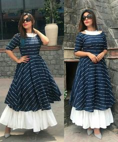 Book your dresses stiched and customised in any color and size. Order at 918968922443 Sizes available S to Shipping worldwide✈ For booking WhatsApp or call at 8968922443 Kurta Designs Women, Kurti Neck Designs, Kurti Designs Party Wear, Frock Fashion, Fashion Outfits, Stylish Dresses, Casual Dresses, Indian Gowns Dresses, Designs For Dresses