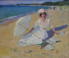 Pauline Palmer - Woman With Parasol (also known as Beach Scene) circa 1914
