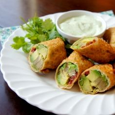 Avocado Egg Rolls with Creamy Cilantro Ranch Dip {Cheesecake Factory Copy-cat]