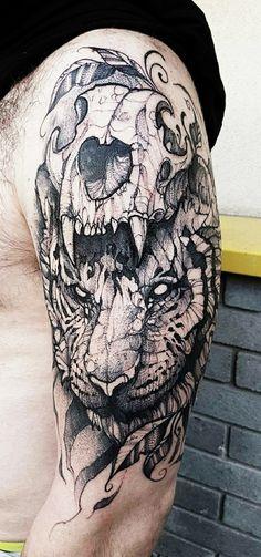 Artist:Jakub Kowalski /Hugo Tattoo #tiger #skull #sketchstyle #tattoo my own