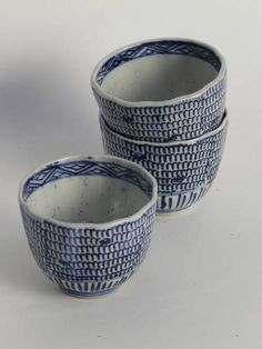 Japanese blue and white china beaker cup, 8cm diamter. ** x11 available to hire** (Stock codel0 BOWO10190)