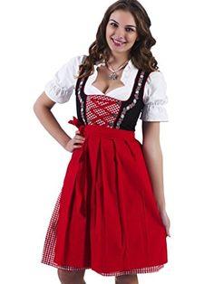 3tlg-Dirndl-Set-Trachtenkleid-Bluse-Schrze-Gr32-60-schwarz-rot-ALM736-0
