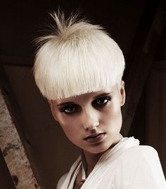 Short Blonde straight coloured platinum white defined-fringe womens haircut…