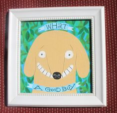 Yellow Lab Dog Painting - 'What a Good Boy' Folk Art  - Framed Whimsical Golden Labrador Retriever Original Wall Decor Artwork by 3crows on Etsy
