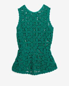 Exclusive For Intermix Zipper Back Floral Lace Peplum Top