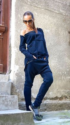NEW SS/15 Loose Casual Navy Drop Crotch Harem Pants / by Aakasha